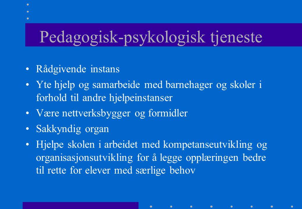 Pedagogisk-psykologisk tjeneste Rådgivende instans Yte hjelp og samarbeide med barnehager og skoler i forhold til andre hjelpeinstanser Være nettverks