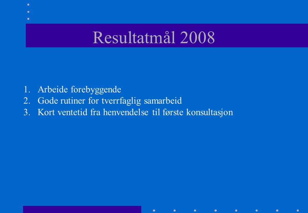 1.Arbeide forebyggende 2.Gode rutiner for tverrfaglig samarbeid 3.Kort ventetid fra henvendelse til første konsultasjon Resultatmål 2008