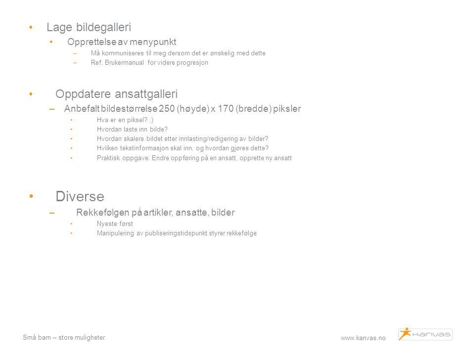 www.kanvas.no Små barn – store muligheter Lage bildegalleri Opprettelse av menypunkt –Må kommuniseres til meg dersom det er ønskelig med dette –Ref. B