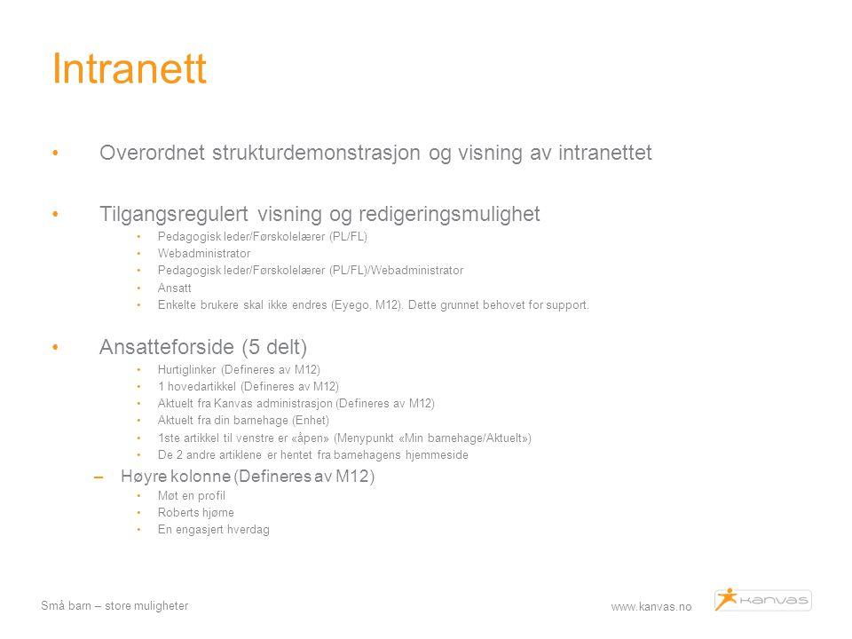 www.kanvas.no Små barn – store muligheter Intranett Overordnet strukturdemonstrasjon og visning av intranettet Tilgangsregulert visning og redigerings