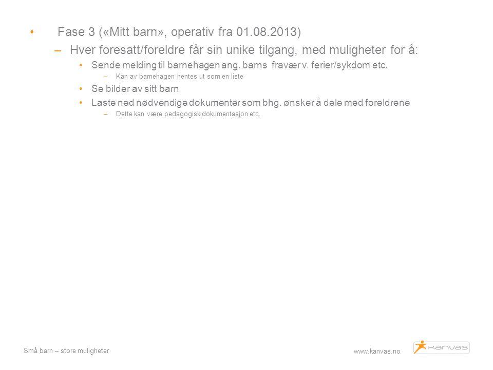 www.kanvas.no Små barn – store muligheter Fase 3 («Mitt barn», operativ fra 01.08.2013) –Hver foresatt/foreldre får sin unike tilgang, med muligheter