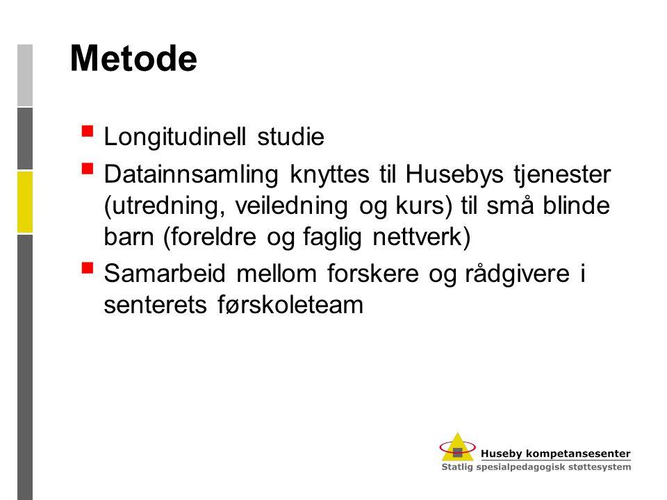 Metode  Longitudinell studie  Datainnsamling knyttes til Husebys tjenester (utredning, veiledning og kurs) til små blinde barn (foreldre og faglig n