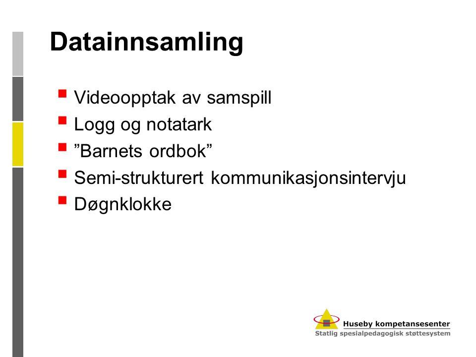 """Datainnsamling  Videoopptak av samspill  Logg og notatark  """"Barnets ordbok""""  Semi-strukturert kommunikasjonsintervju  Døgnklokke"""