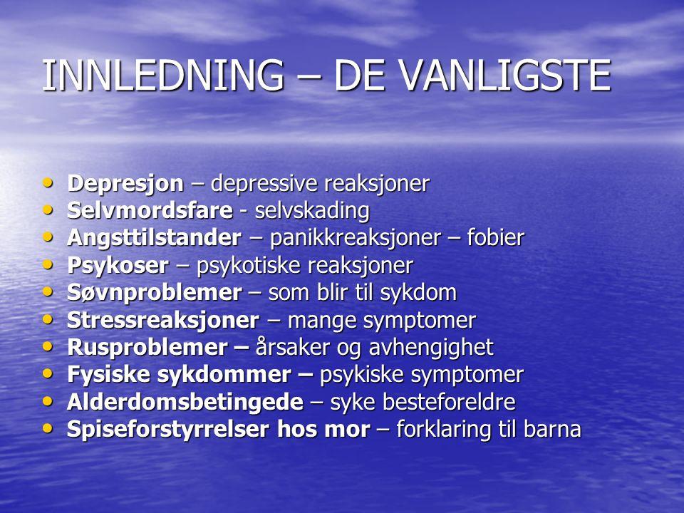 INNLEDNING – DE VANLIGSTE Depresjon – depressive reaksjoner Depresjon – depressive reaksjoner Selvmordsfare - selvskading Selvmordsfare - selvskading