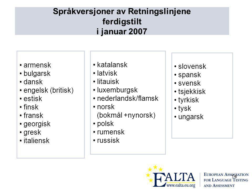 14 armensk bulgarsk dansk engelsk (britisk) estisk finsk fransk georgisk gresk italiensk katalansk latvisk litauisk luxemburgsk nederlandsk/flamsk norsk (bokmål +nynorsk) polsk rumensk russisk slovensk spansk svensk tsjekkisk tyrkisk tysk ungarsk Språkversjoner av Retningslinjene ferdigstilt i januar 2007