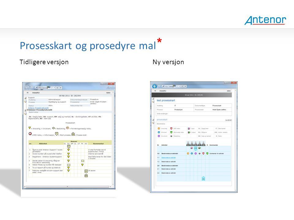 Gammel design Prosesskart og prosedyre mal * Tidligere versjon Ny versjon