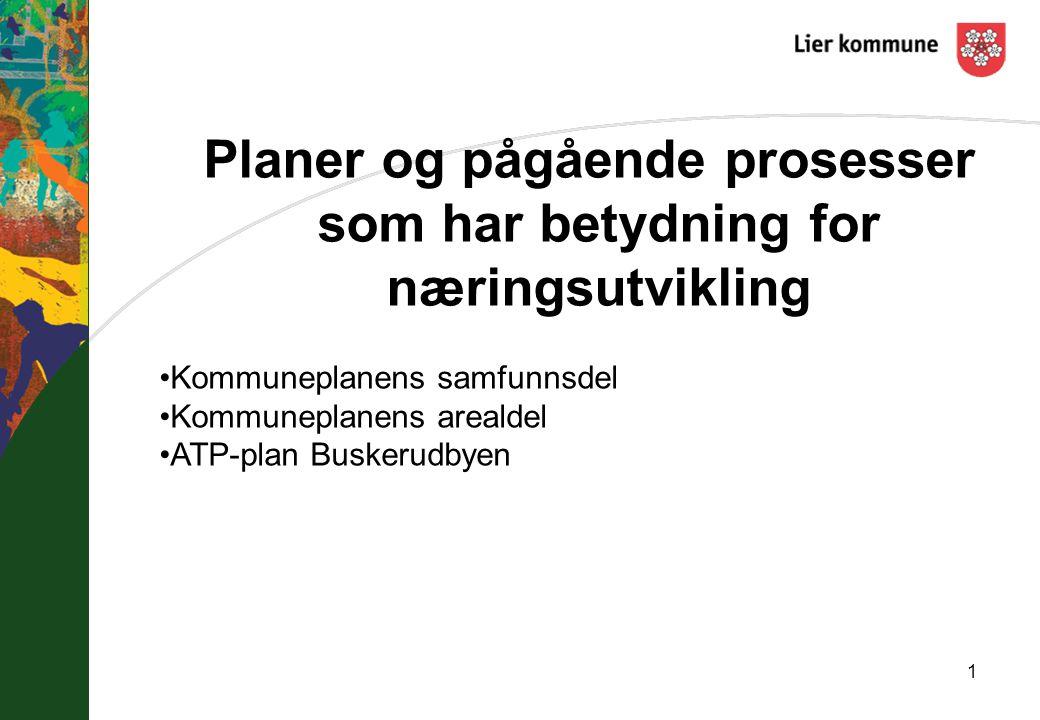 Planer og pågående prosesser som har betydning for næringsutvikling 1 Kommuneplanens samfunnsdel Kommuneplanens arealdel ATP-plan Buskerudbyen