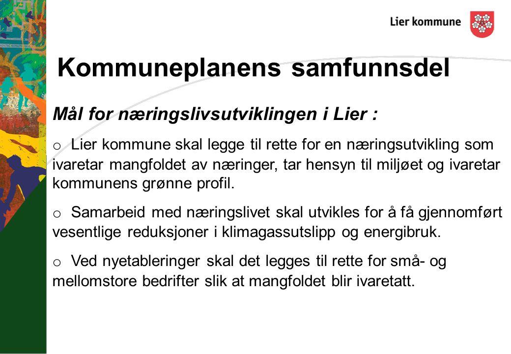 Kommuneplanens samfunnsdel Mål for næringslivsutviklingen i Lier : o Lier kommune skal legge til rette for en næringsutvikling som ivaretar mangfoldet av næringer, tar hensyn til miljøet og ivaretar kommunens grønne profil.