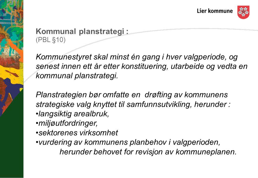 Kommunal planstrategi : (PBL §10) Kommunestyret skal minst én gang i hver valgperiode, og senest innen ett år etter konstituering, utarbeide og vedta en kommunal planstrategi.