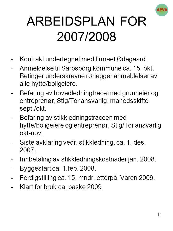 11 ARBEIDSPLAN FOR 2007/2008 -Kontrakt undertegnet med firmaet Ødegaard. -Anmeldelse til Sarpsborg kommune ca. 15. okt. Betinger underskrevne rørlegge