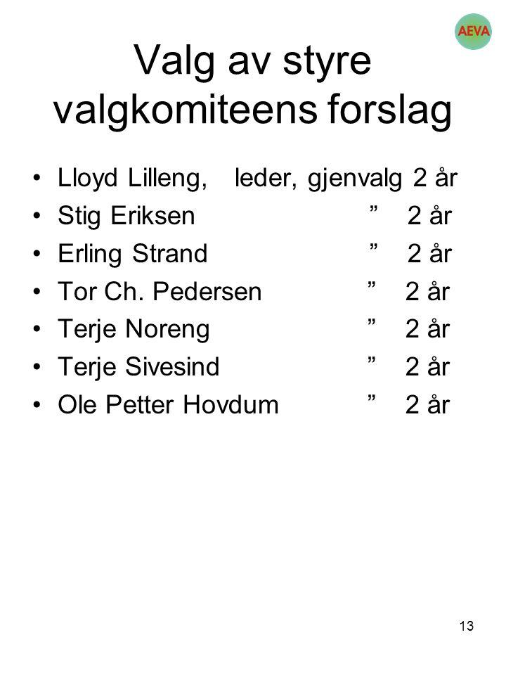 """13 Valg av styre valgkomiteens forslag Lloyd Lilleng, leder, gjenvalg 2 år Stig Eriksen"""" 2 år Erling Strand"""" 2 år Tor Ch. Pedersen """" 2 år Terje Noreng"""