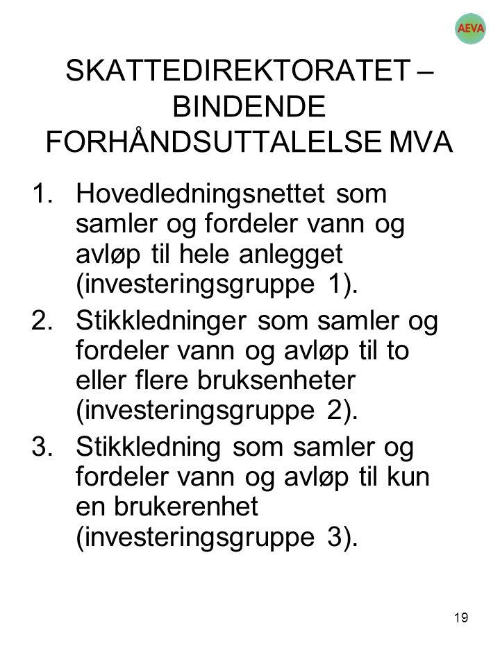 19 SKATTEDIREKTORATET – BINDENDE FORHÅNDSUTTALELSE MVA 1.Hovedledningsnettet som samler og fordeler vann og avløp til hele anlegget (investeringsgrupp