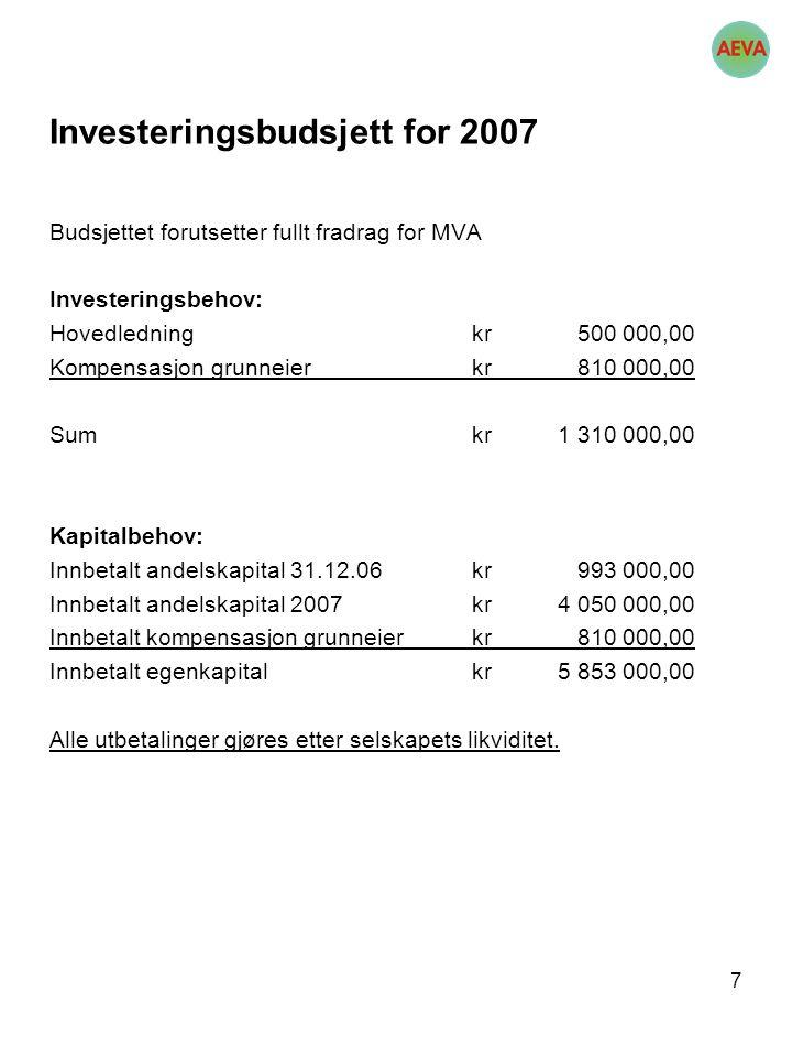 7 Investeringsbudsjett for 2007 Budsjettet forutsetter fullt fradrag for MVA Investeringsbehov: Hovedledningkr 500 000,00 Kompensasjon grunneierkr 810