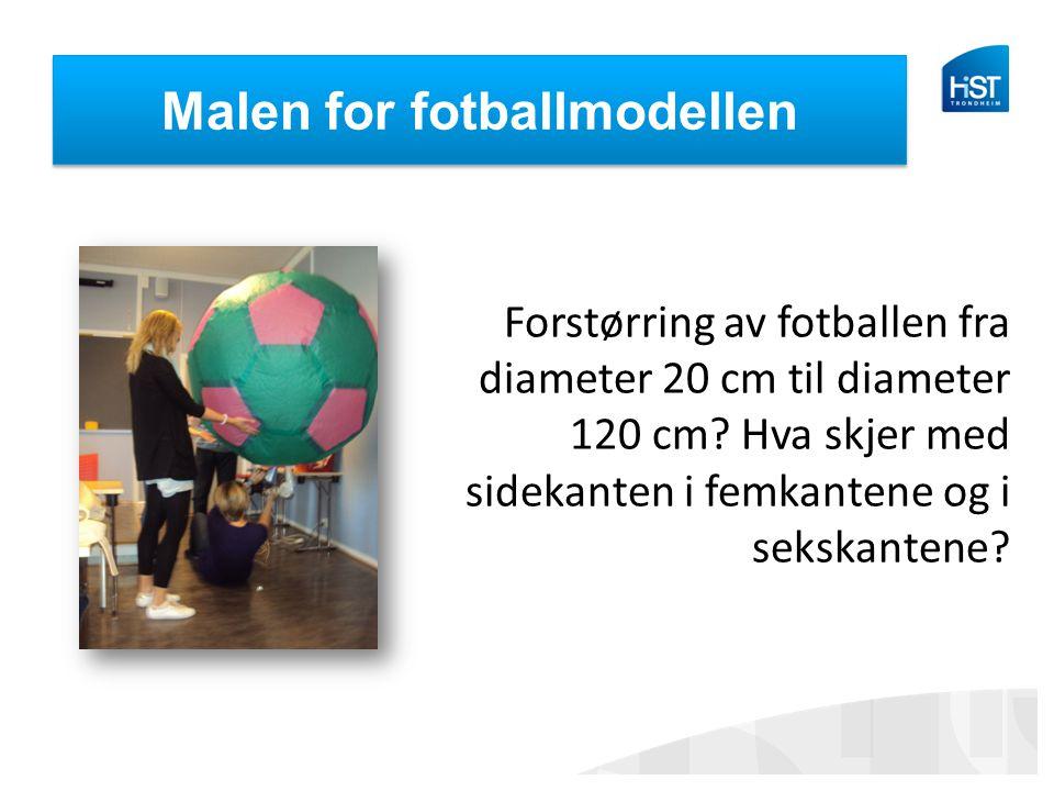 Malen for fotballmodellen Forstørring av fotballen fra diameter 20 cm til diameter 120 cm? Hva skjer med sidekanten i femkantene og i sekskantene?