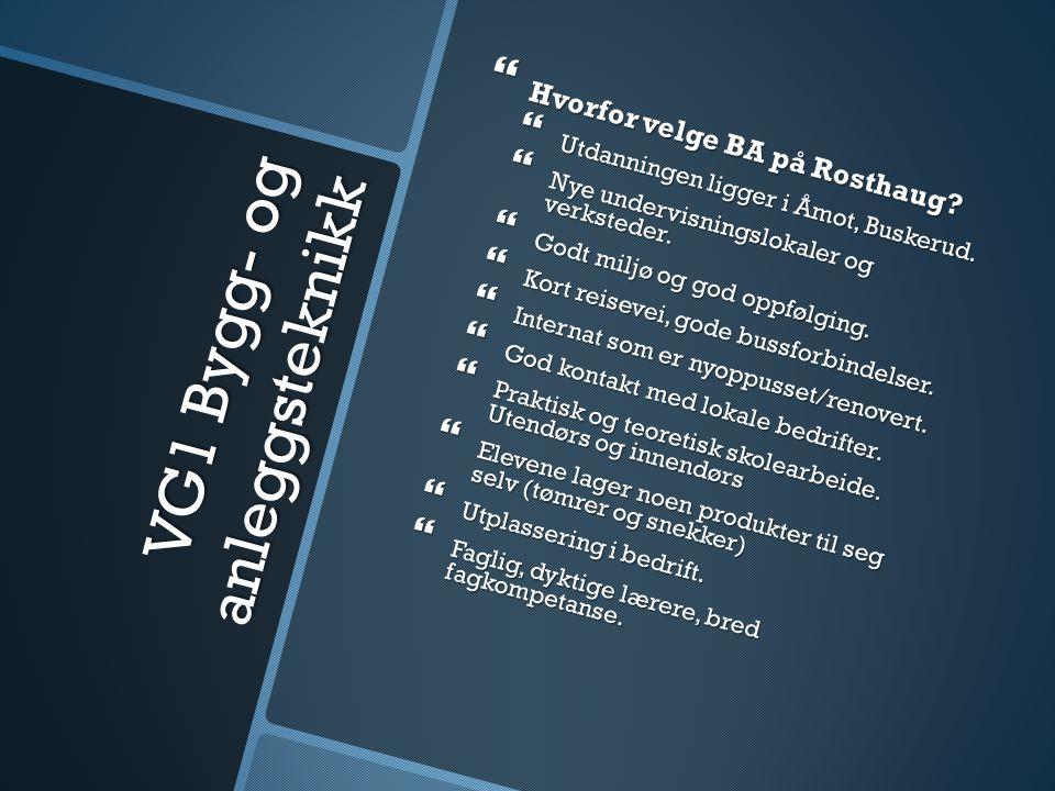 VG1 Bygg- og anleggsteknikk  Hvorfor velge BA på Rosthaug?  Utdanningen ligger i Åmot, Buskerud.  Nye undervisningslokaler og verksteder.  Godt mi