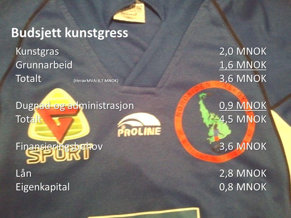 Budsjett kunstgress Kunstgras2,0 MNOK Grunnarbeid1,6 MNOK Totalt (Herav MVA: 0,7 MNOK) 3,6 MNOK Dugnad og administrasjon0,9 MNOK Totalt4,5 MNOK Finansieringsbehov3,6 MNOK Lån2,8 MNOK Eigenkapital0,8 MNOK