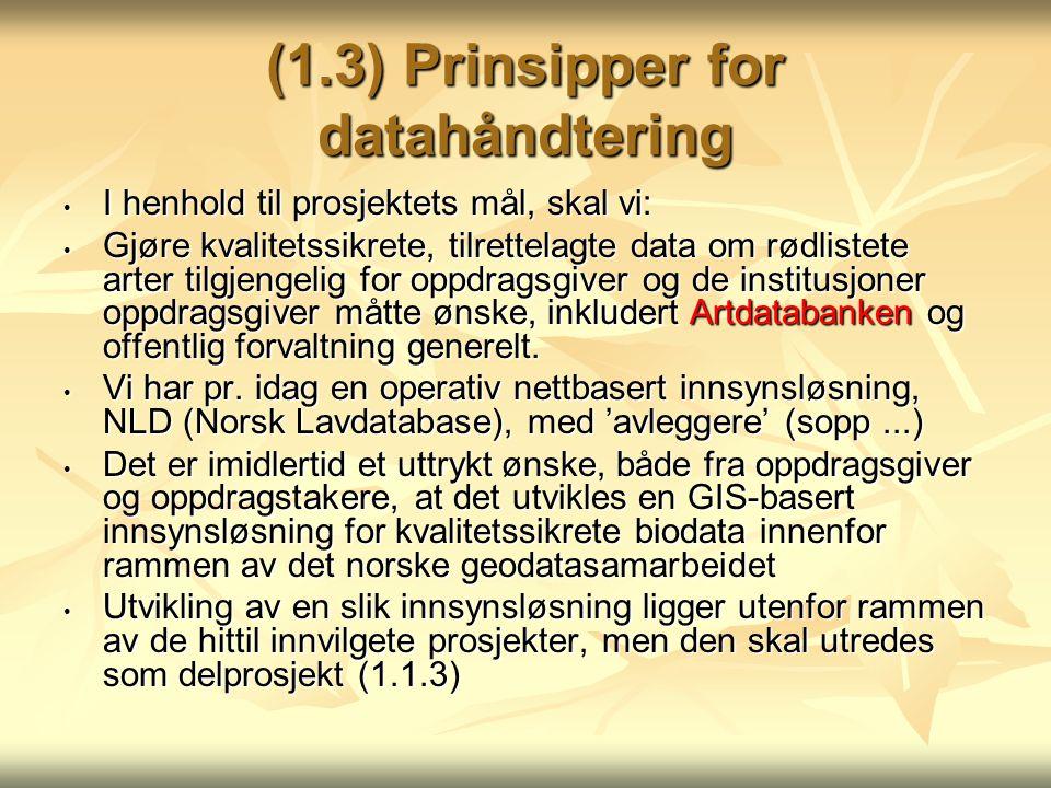 (1.3) Prinsipper for datahåndtering I henhold til prosjektets mål, skal vi: I henhold til prosjektets mål, skal vi: Gjøre kvalitetssikrete, tilrettela