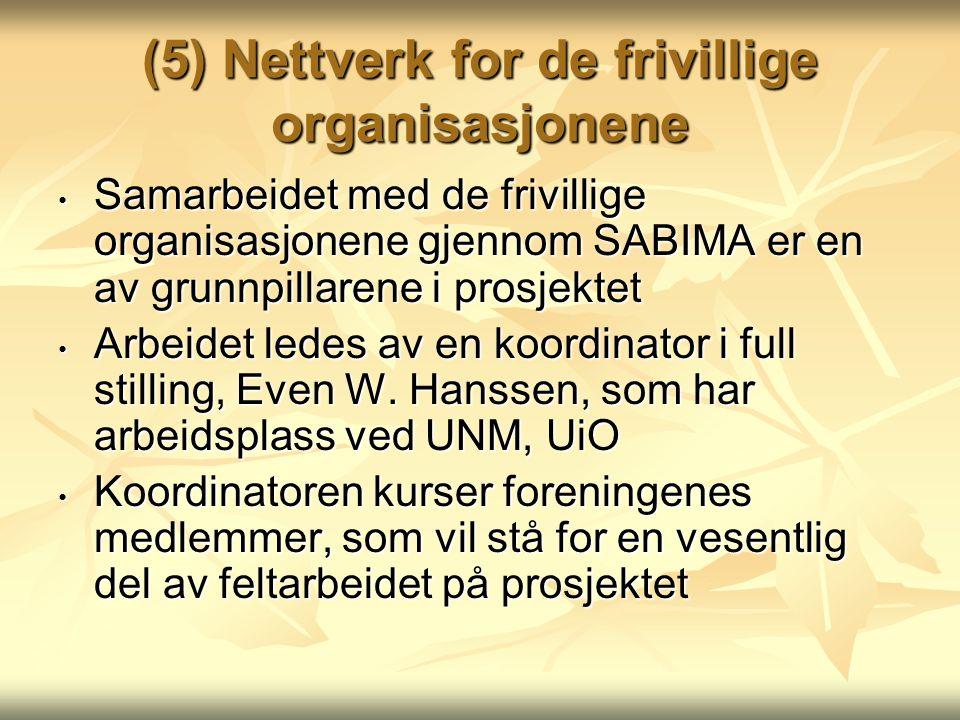 (5) Nettverk for de frivillige organisasjonene Samarbeidet med de frivillige organisasjonene gjennom SABIMA er en av grunnpillarene i prosjektet Samarbeidet med de frivillige organisasjonene gjennom SABIMA er en av grunnpillarene i prosjektet Arbeidet ledes av en koordinator i full stilling, Even W.