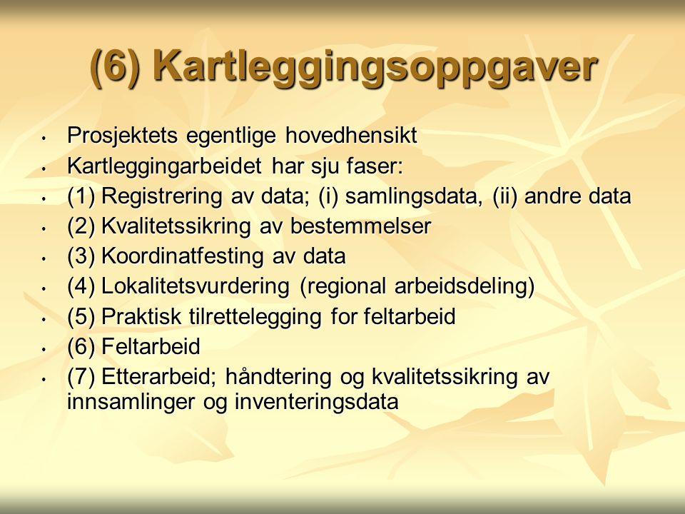 (6) Kartleggingsoppgaver Prosjektets egentlige hovedhensikt Prosjektets egentlige hovedhensikt Kartleggingarbeidet har sju faser: Kartleggingarbeidet har sju faser: (1) Registrering av data; (i) samlingsdata, (ii) andre data (1) Registrering av data; (i) samlingsdata, (ii) andre data (2) Kvalitetssikring av bestemmelser (2) Kvalitetssikring av bestemmelser (3) Koordinatfesting av data (3) Koordinatfesting av data (4) Lokalitetsvurdering (regional arbeidsdeling) (4) Lokalitetsvurdering (regional arbeidsdeling) (5) Praktisk tilrettelegging for feltarbeid (5) Praktisk tilrettelegging for feltarbeid (6) Feltarbeid (6) Feltarbeid (7) Etterarbeid; håndtering og kvalitetssikring av innsamlinger og inventeringsdata (7) Etterarbeid; håndtering og kvalitetssikring av innsamlinger og inventeringsdata