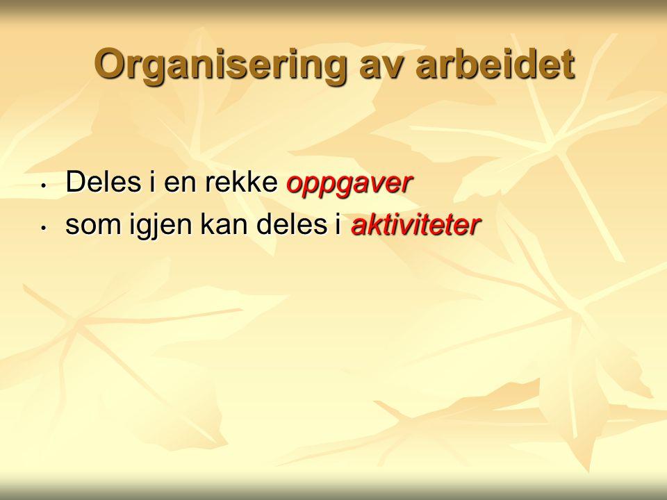 Organisering av arbeidet Deles i en rekke oppgaver Deles i en rekke oppgaver som igjen kan deles i aktiviteter som igjen kan deles i aktiviteter