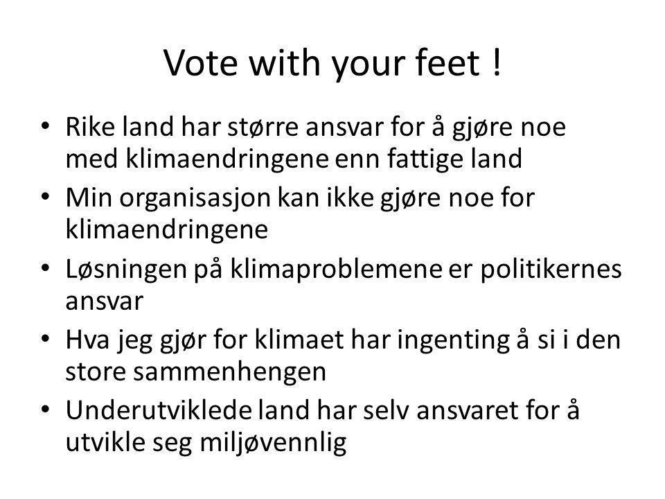 Vote with your feet ! Rike land har større ansvar for å gjøre noe med klimaendringene enn fattige land Min organisasjon kan ikke gjøre noe for klimaen