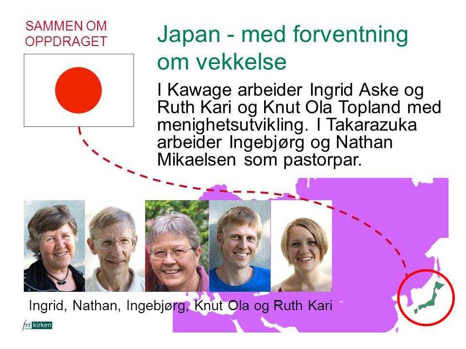 SAMMEN OM OPPDRAGET Japan - med forventning om vekkelse I Kawage arbeider Ingrid Aske og Ruth Kari og Knut Ola Topland med menighetsutvikling. I Takar