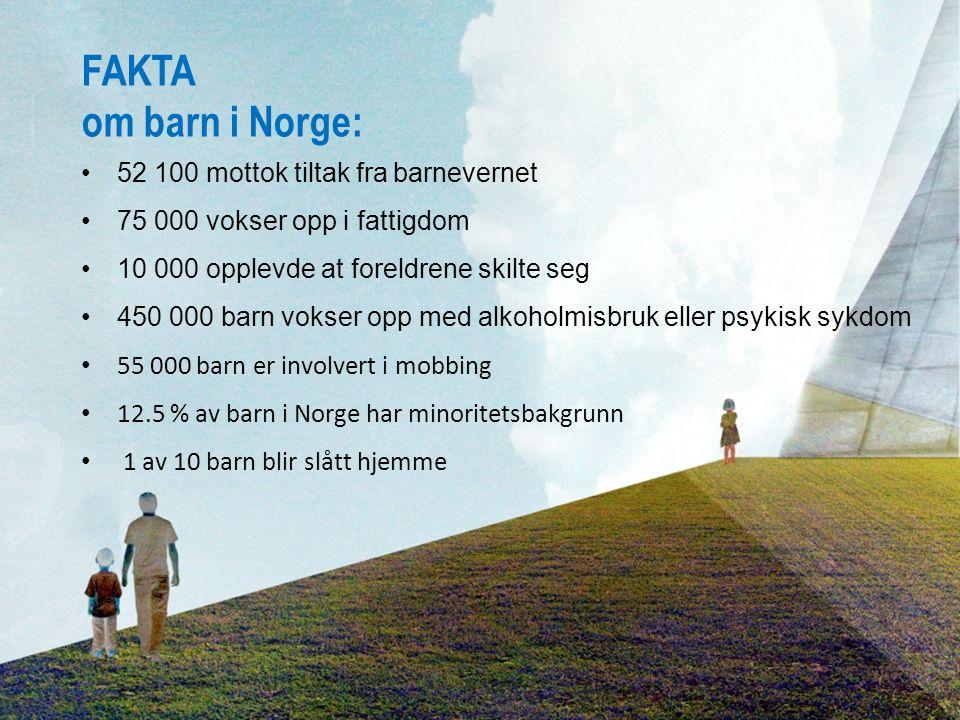 52 100 mottok tiltak fra barnevernet 75 000 vokser opp i fattigdom 10 000 opplevde at foreldrene skilte seg 450 000 barn vokser opp med alkoholmisbruk eller psykisk sykdom 55 000 barn er involvert i mobbing 12.5 % av barn i Norge har minoritetsbakgrunn 1 av 10 barn blir slått hjemme FAKTA om barn i Norge: