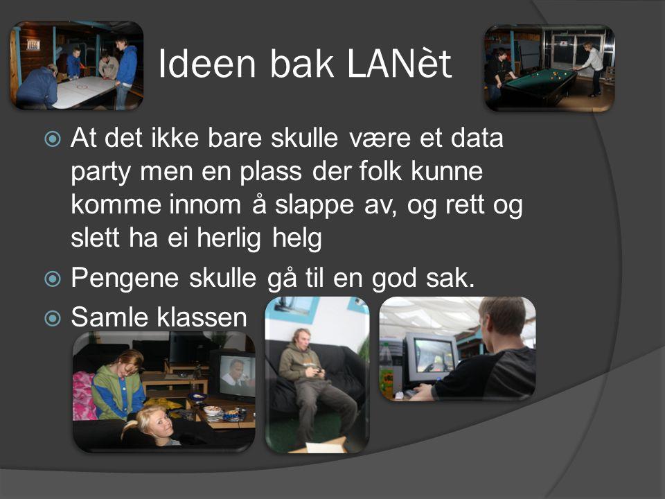 Ideen bak LANèt  At det ikke bare skulle være et data party men en plass der folk kunne komme innom å slappe av, og rett og slett ha ei herlig helg  Pengene skulle gå til en god sak.