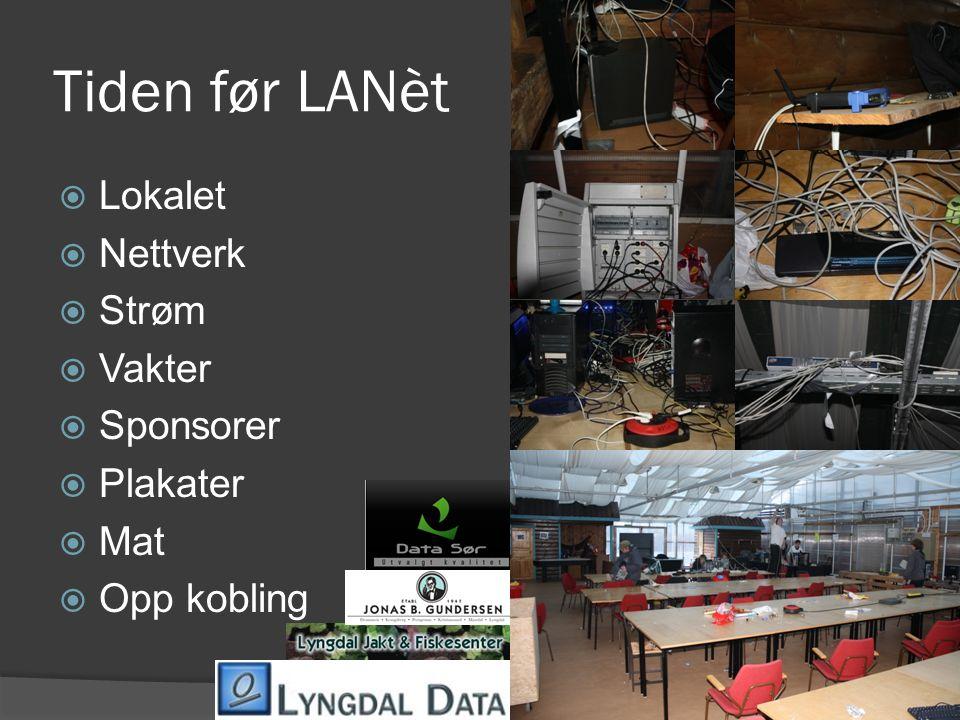 Tiden før LANèt  Lokalet  Nettverk  Strøm  Vakter  Sponsorer  Plakater  Mat  Opp kobling