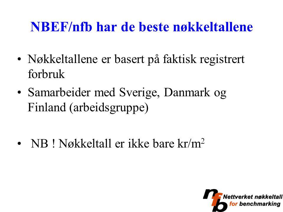 NBEF/nfb har de beste nøkkeltallene Nøkkeltallene er basert på faktisk registrert forbruk Samarbeider med Sverige, Danmark og Finland (arbeidsgruppe)