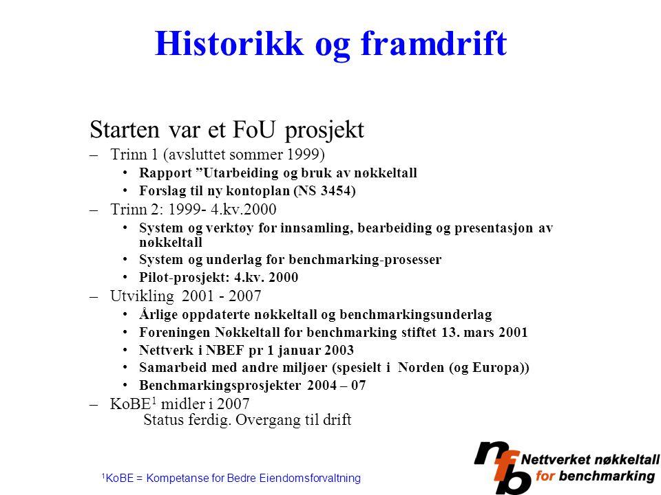 """Historikk og framdrift Starten var et FoU prosjekt –Trinn 1 (avsluttet sommer 1999) Rapport """"Utarbeiding og bruk av nøkkeltall Forslag til ny kontopla"""