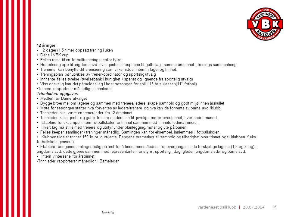 Vardeneset ballklubb | 20.07.2014 16 Sportslig 12 åringer: 2 dager (1,5 time) oppsatt trening i uken Delta i VBK cup Felles reise til en fotballturner