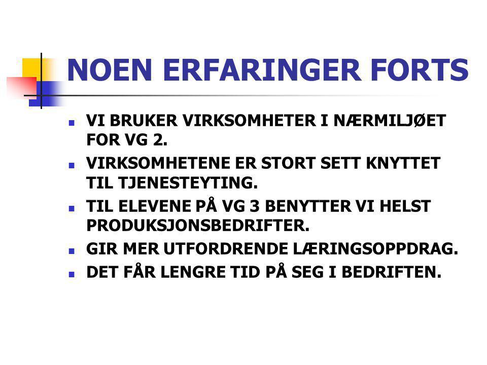 NOEN ERFARINGER FORTS VI BRUKER VIRKSOMHETER I NÆRMILJØET FOR VG 2.