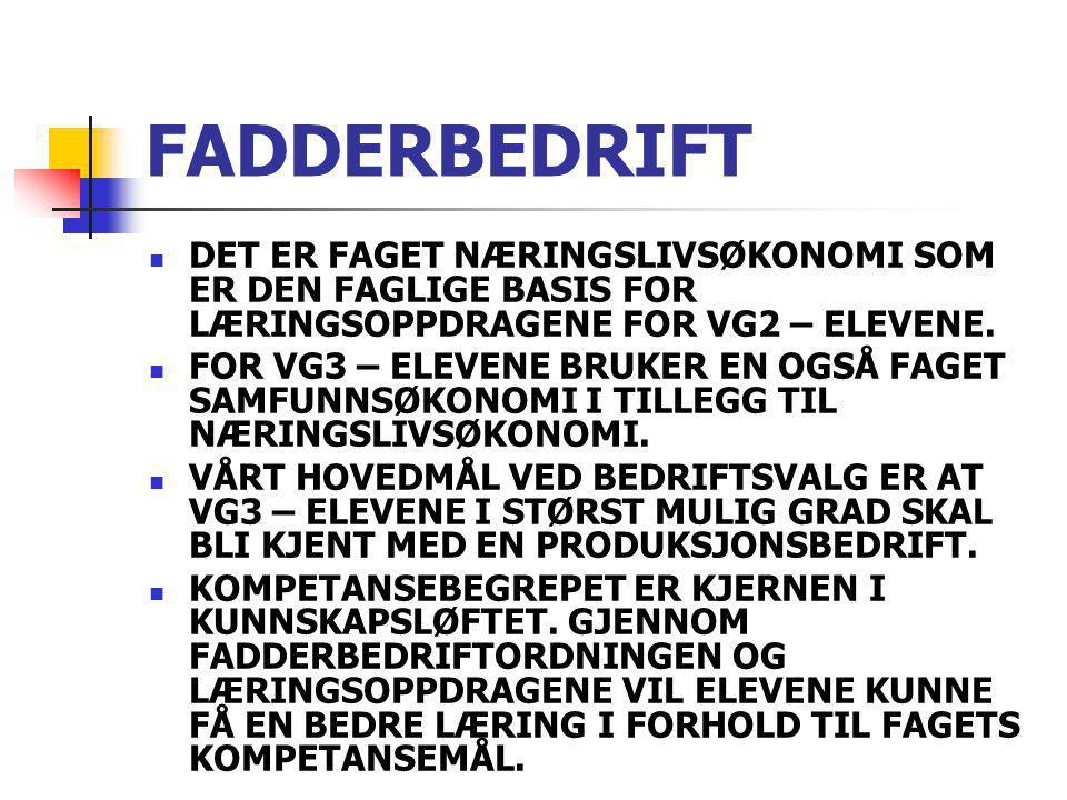 FADDERBEDRIFT DET ER FAGET NÆRINGSLIVSØKONOMI SOM ER DEN FAGLIGE BASIS FOR LÆRINGSOPPDRAGENE FOR VG2 – ELEVENE.
