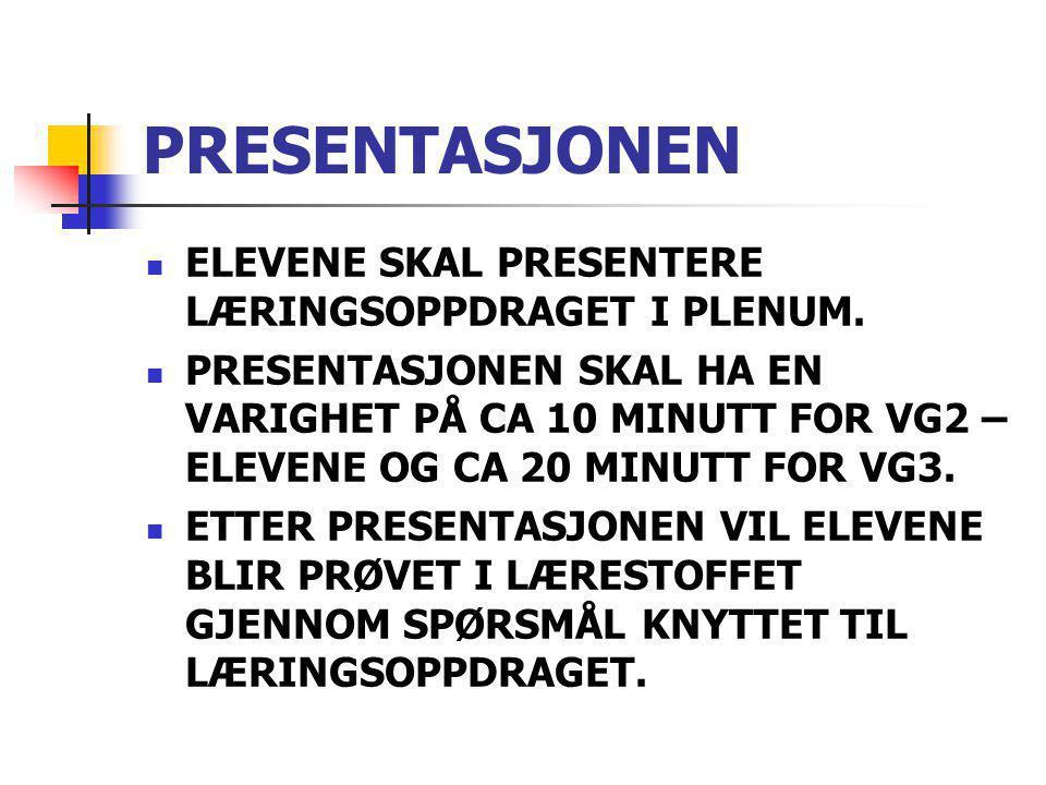 PRESENTASJONEN ELEVENE SKAL PRESENTERE LÆRINGSOPPDRAGET I PLENUM.