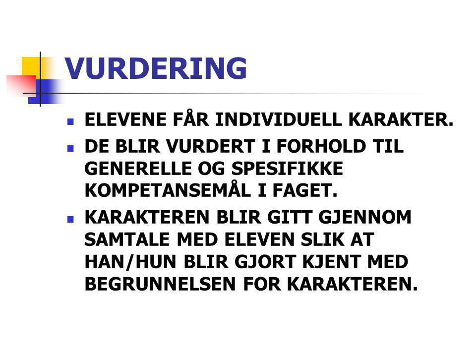 VURDERING ELEVENE FÅR INDIVIDUELL KARAKTER.