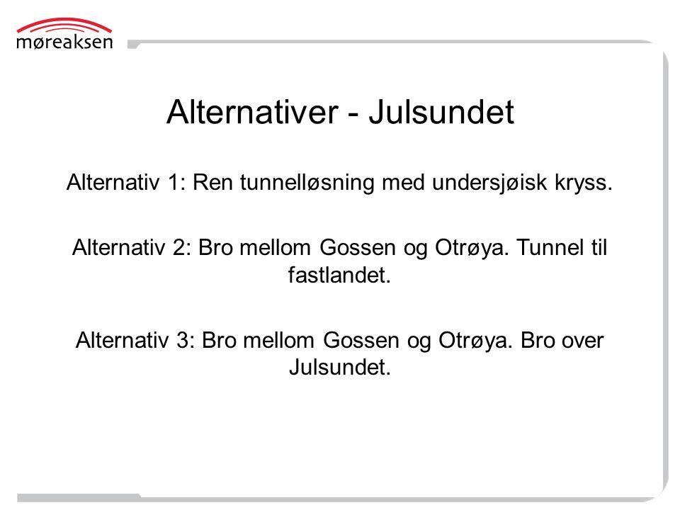 Alternativer - Julsundet Alternativ 1: Ren tunnelløsning med undersjøisk kryss. Alternativ 2: Bro mellom Gossen og Otrøya. Tunnel til fastlandet. Alte