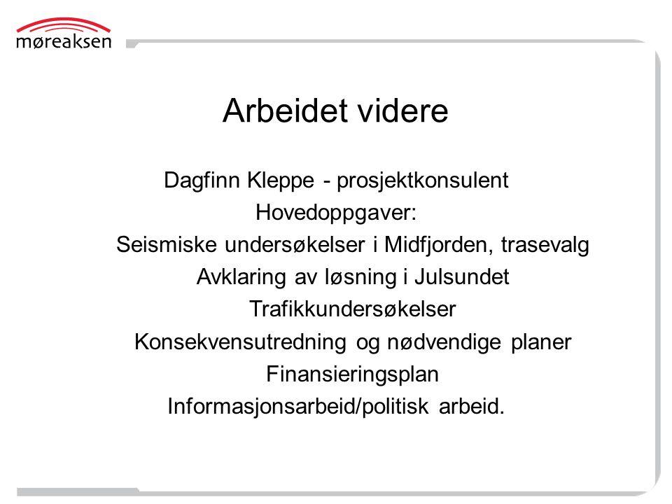 Arbeidet videre Dagfinn Kleppe - prosjektkonsulent Hovedoppgaver: Seismiske undersøkelser i Midfjorden, trasevalg Avklaring av løsning i Julsundet Tra