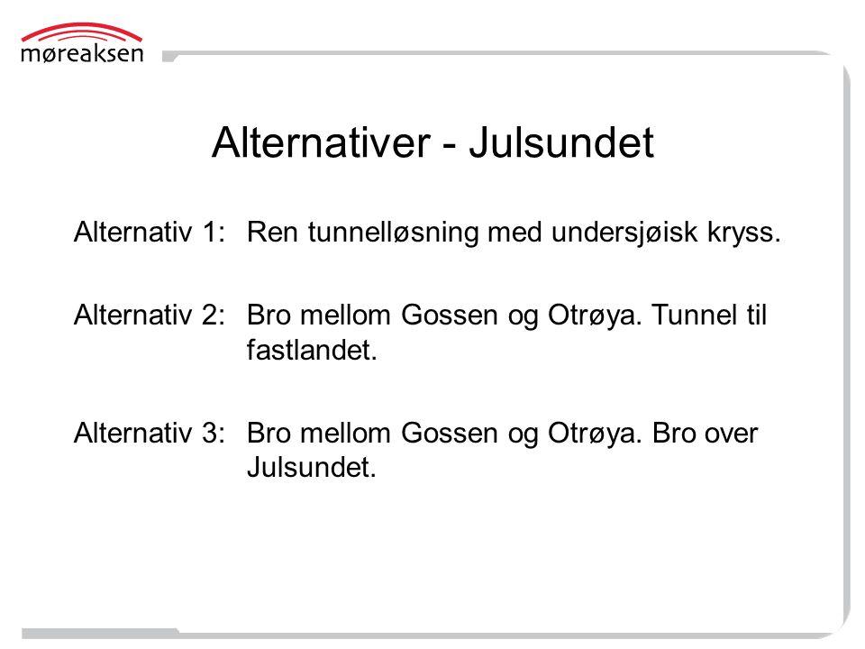 Alternativer - Julsundet Alternativ 1:Ren tunnelløsning med undersjøisk kryss. Alternativ 2: Bro mellom Gossen og Otrøya. Tunnel til fastlandet. Alter