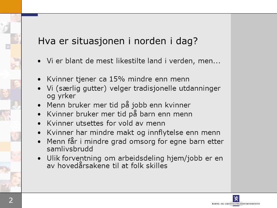 2 Hva er situasjonen i norden i dag? Vi er blant de mest likestilte land i verden, men... Kvinner tjener ca 15% mindre enn menn Vi (særlig gutter) vel