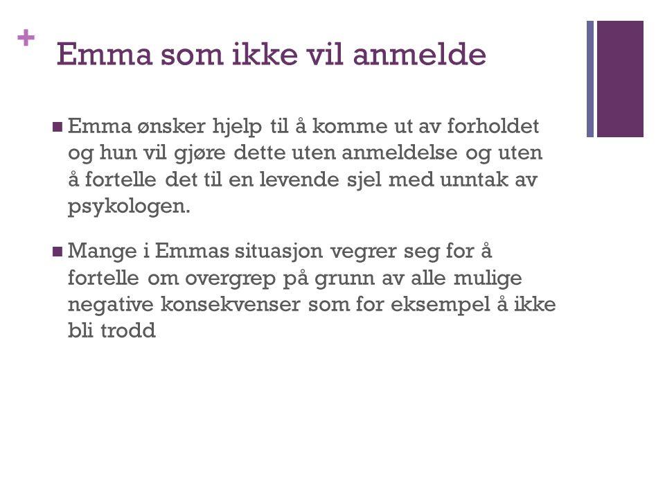 + Emma som ikke vil anmelde Emma ønsker hjelp til å komme ut av forholdet og hun vil gjøre dette uten anmeldelse og uten å fortelle det til en levende