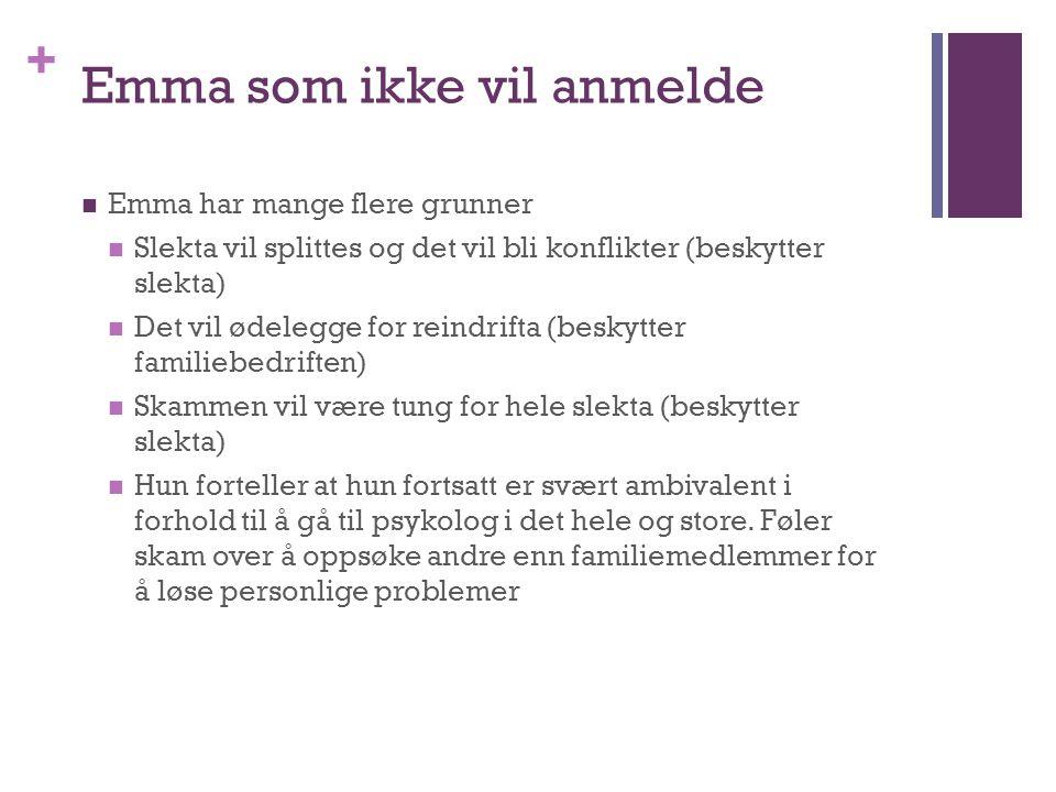 + Emma som ikke vil anmelde Emma har mange flere grunner Slekta vil splittes og det vil bli konflikter (beskytter slekta) Det vil ødelegge for reindri