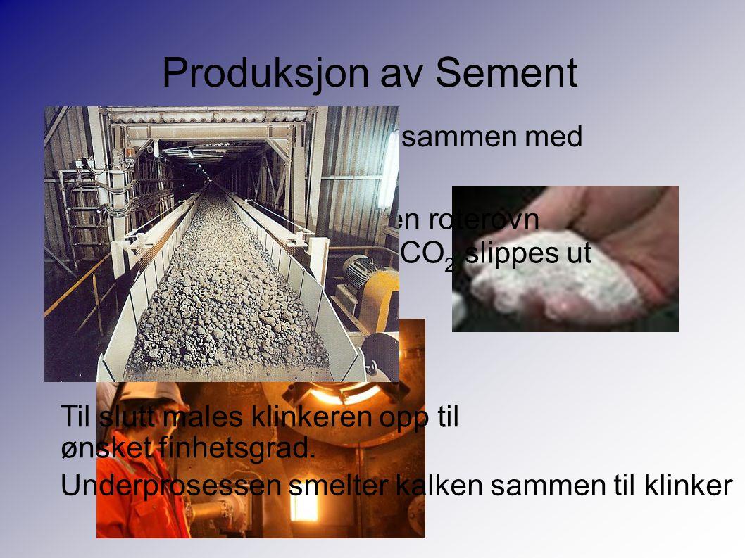 Produksjon av Sement Først knuses kalksteinen sammen med koreksjonsmaterialet.