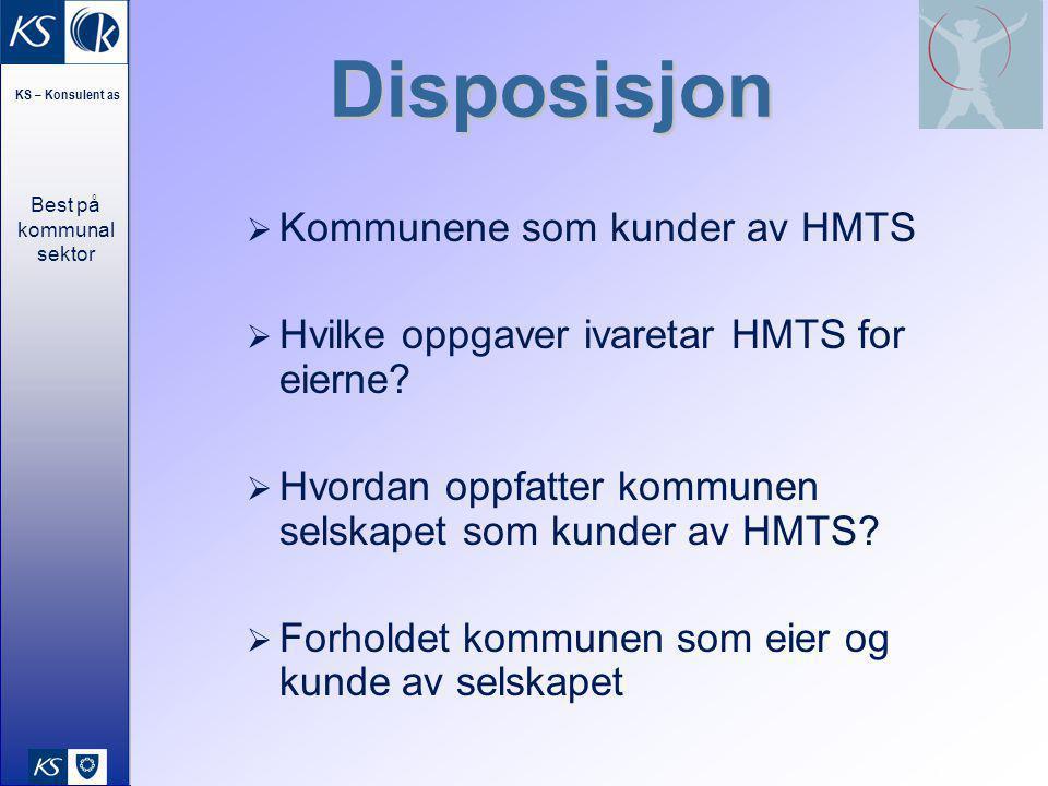 Best på kommunal sektor KS – Konsulent as 14 Disposisjon  Kommunene som kunder av HMTS  Hvilke oppgaver ivaretar HMTS for eierne?  Hvordan oppfatte