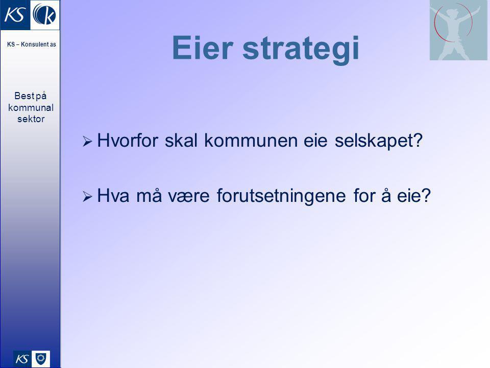 Best på kommunal sektor KS – Konsulent as 15 Eier strategi  Hvorfor skal kommunen eie selskapet?  Hva må være forutsetningene for å eie?