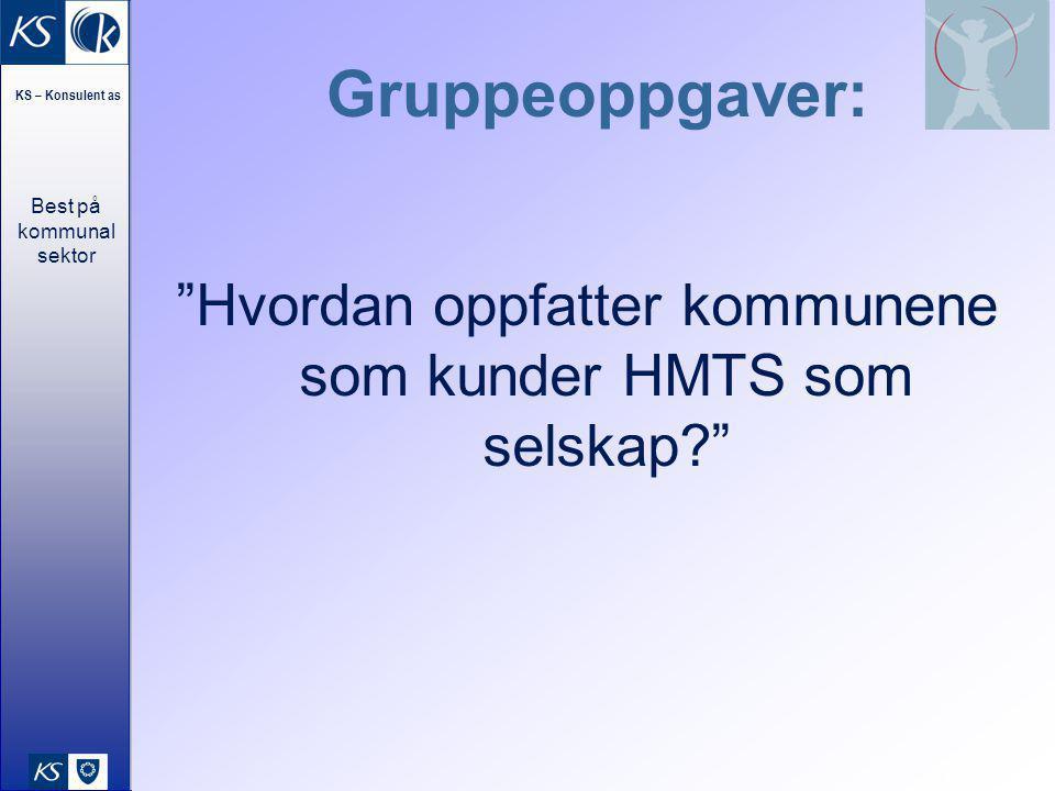 Best på kommunal sektor KS – Konsulent as 18 Gruppeoppgaver: Hvordan oppfatter kommunene som kunder HMTS som selskap?