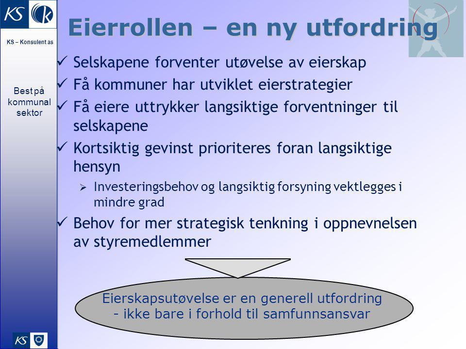 Best på kommunal sektor KS – Konsulent as 27 Eierrollen – en ny utfordring Selskapene forventer utøvelse av eierskap Få kommuner har utviklet eierstra