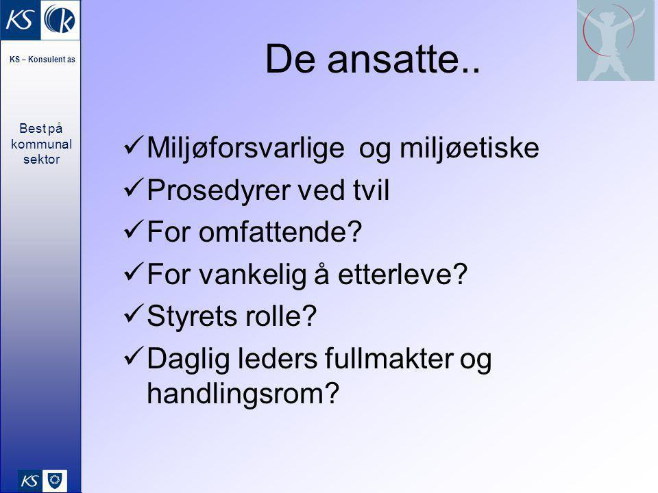 Best på kommunal sektor KS – Konsulent as 33 De ansatte..