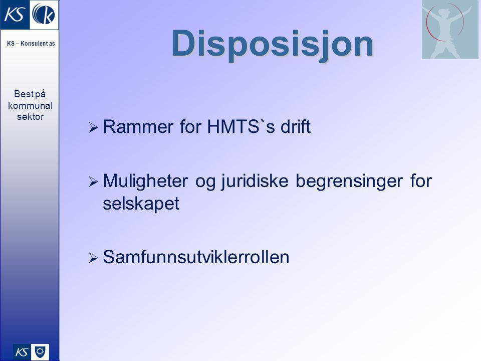Best på kommunal sektor KS – Konsulent as 40 Disposisjon  Rammer for HMTS`s drift  Muligheter og juridiske begrensinger for selskapet  Samfunnsutvi