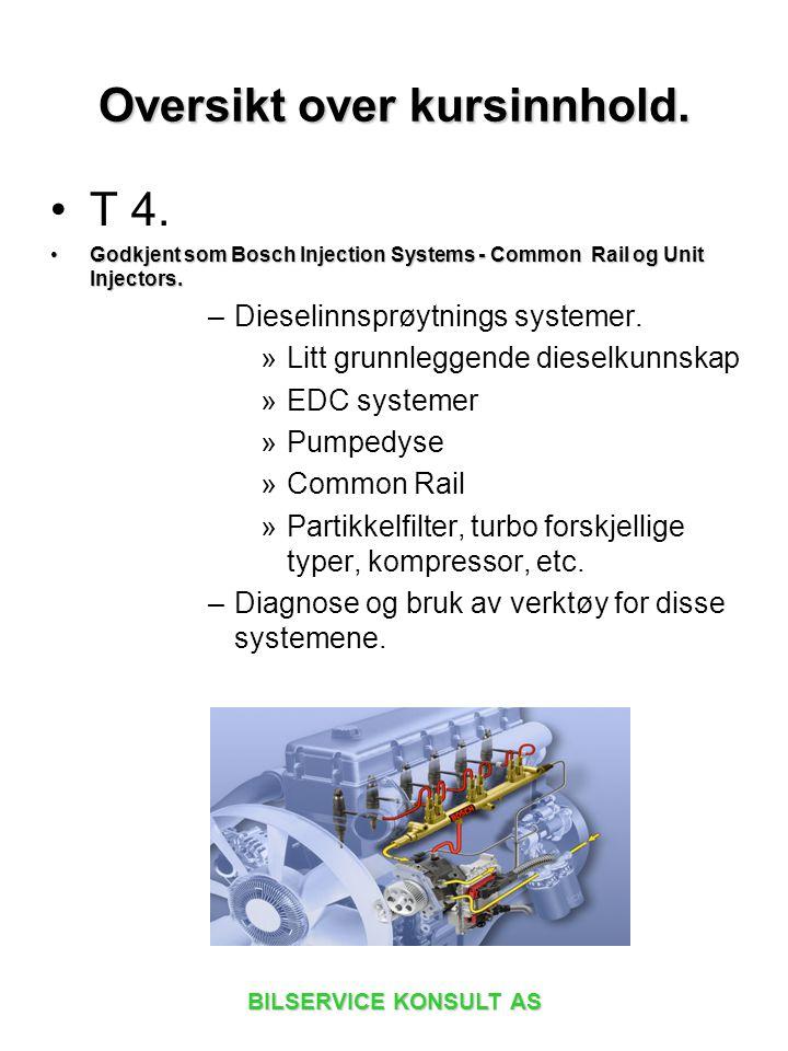 BILSERVICE KONSULT AS T 4. Godkjent som Bosch Injection Systems - Common Rail og Unit Injectors.Godkjent som Bosch Injection Systems - Common Rail og